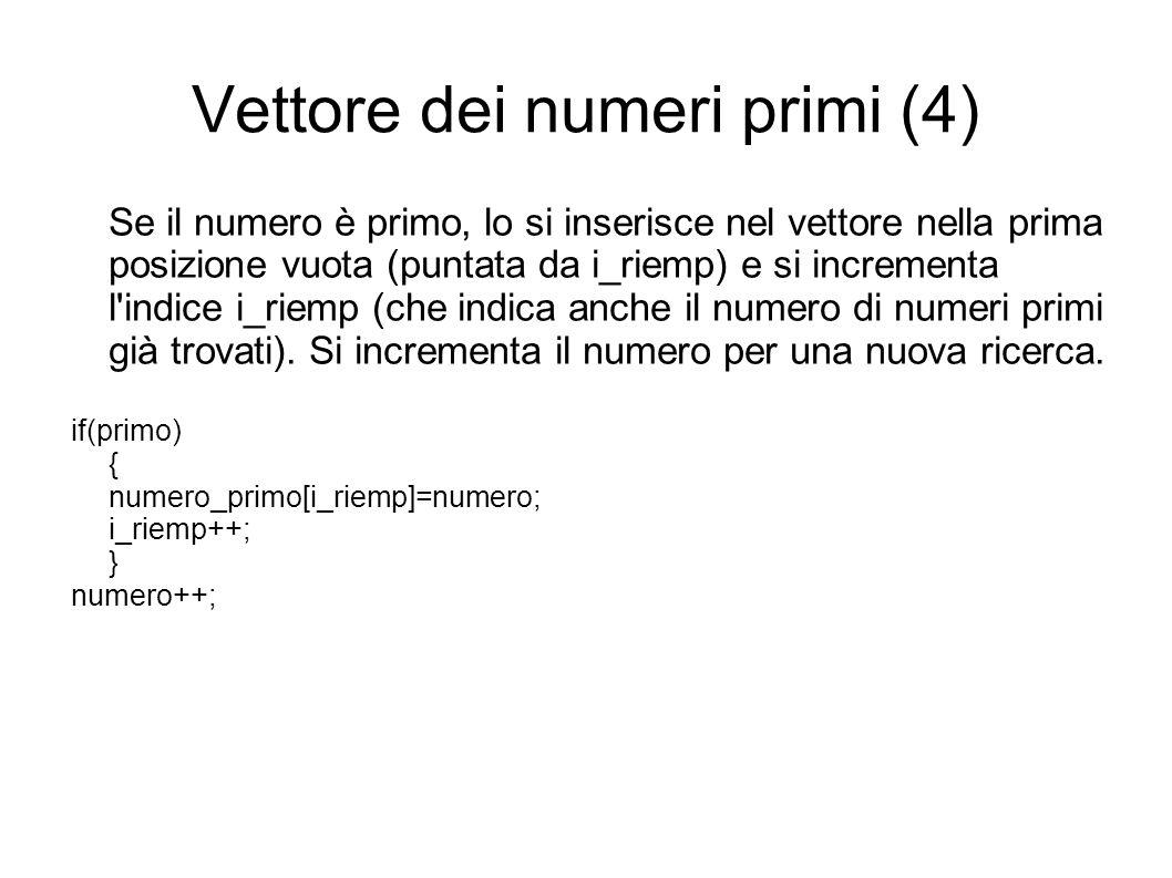 Vettore dei numeri primi (4) Se il numero è primo, lo si inserisce nel vettore nella prima posizione vuota (puntata da i_riemp) e si incrementa l indice i_riemp (che indica anche il numero di numeri primi già trovati).