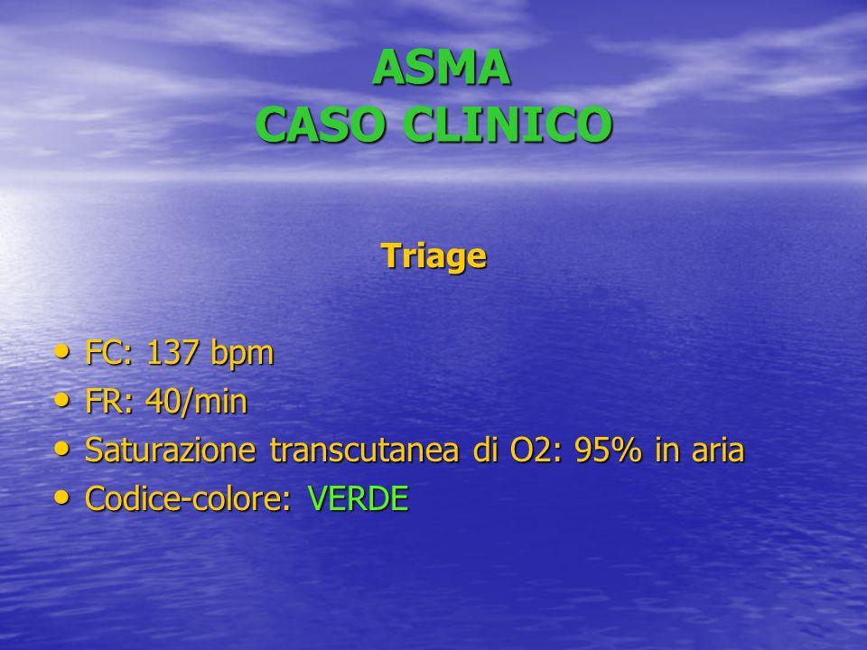 ASMA CASO CLINICO ASMA CASO CLINICO Triage FC: 137 bpm FC: 137 bpm FR: 40/min FR: 40/min Saturazione transcutanea di O2: 95% in aria Saturazione transcutanea di O2: 95% in aria Codice-colore: VERDE Codice-colore: VERDE