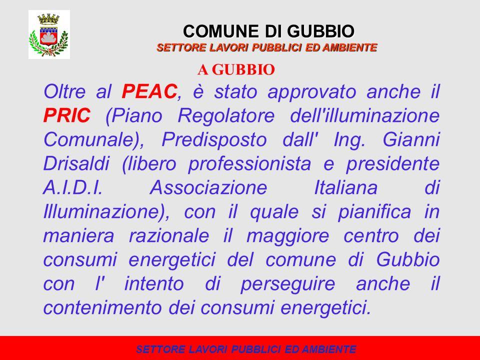 Oltre al PEAC, è stato approvato anche il PRIC (Piano Regolatore dell'illuminazione Comunale), Predisposto dall' Ing. Gianni Drisaldi (libero professi