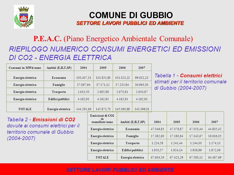 COMUNE DI GUBBIO SETTORE LAVORI PUBBLICI ED AMBIENTE P.E.A.C. (Piano Energetico Ambientale Comunale) RIEPILOGO NUMERICO CONSUMI ENERGETICI ED EMISSION