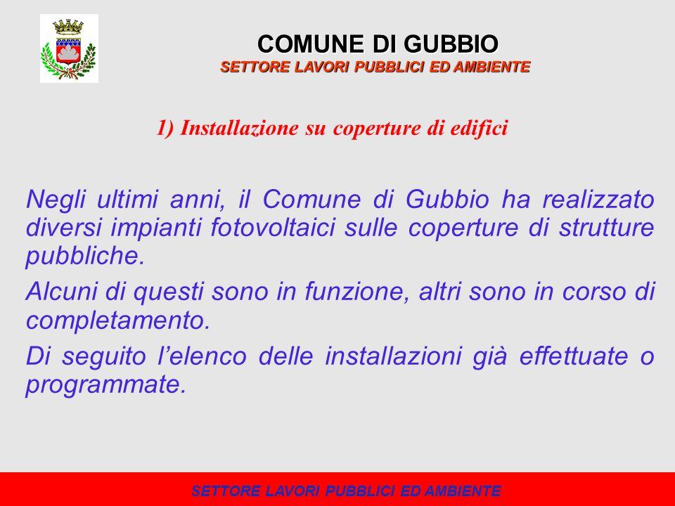 COMUNE DI GUBBIO SETTORE LAVORI PUBBLICI ED AMBIENTE Negli ultimi anni, il Comune di Gubbio ha realizzato diversi impianti fotovoltaici sulle copertur