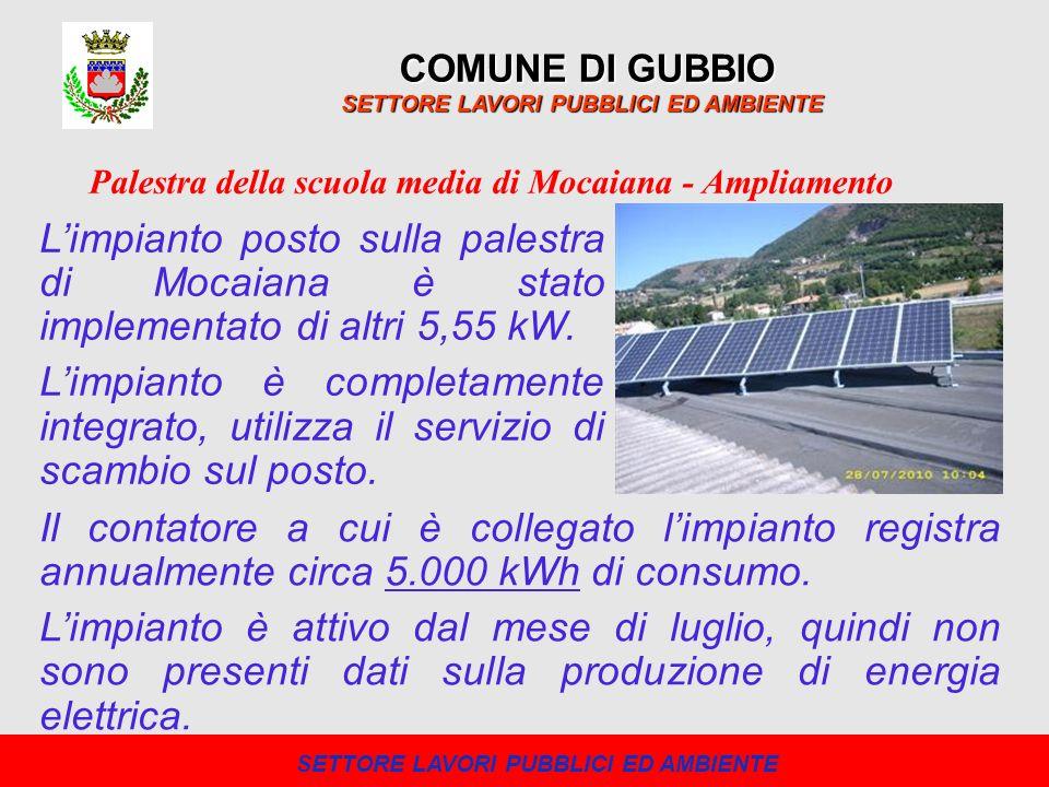 COMUNE DI GUBBIO SETTORE LAVORI PUBBLICI ED AMBIENTE Limpianto posto sulla palestra di Mocaiana è stato implementato di altri 5,55 kW. Limpianto è com
