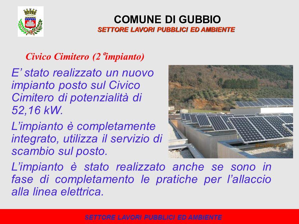 COMUNE DI GUBBIO SETTORE LAVORI PUBBLICI ED AMBIENTE E stato realizzato un nuovo impianto posto sul Civico Cimitero di potenzialità di 52,16 kW. Limpi