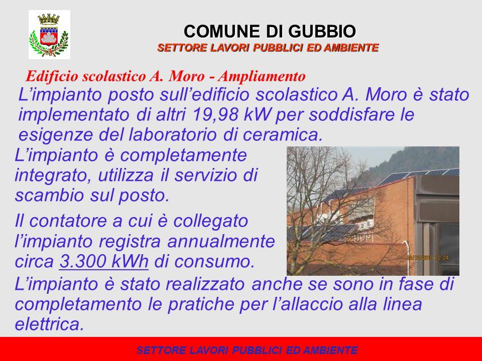 COMUNE DI GUBBIO SETTORE LAVORI PUBBLICI ED AMBIENTE Limpianto posto sulledificio scolastico A. Moro è stato implementato di altri 19,98 kW per soddis