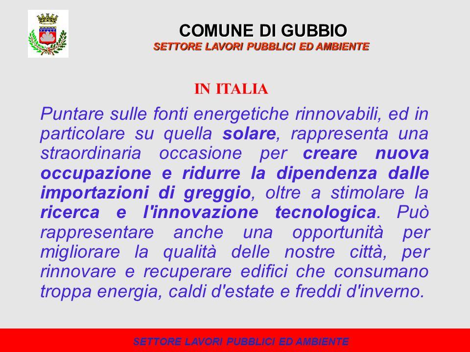 Un consistente sviluppo delle FER è avvenuto con l introduzione di specifici incentivi economici a beneficio di coloro che producono energia pulita, lultimo dei quali sta proiettando l Italia ai vertici della classifica europea di produttori di energie alternative.
