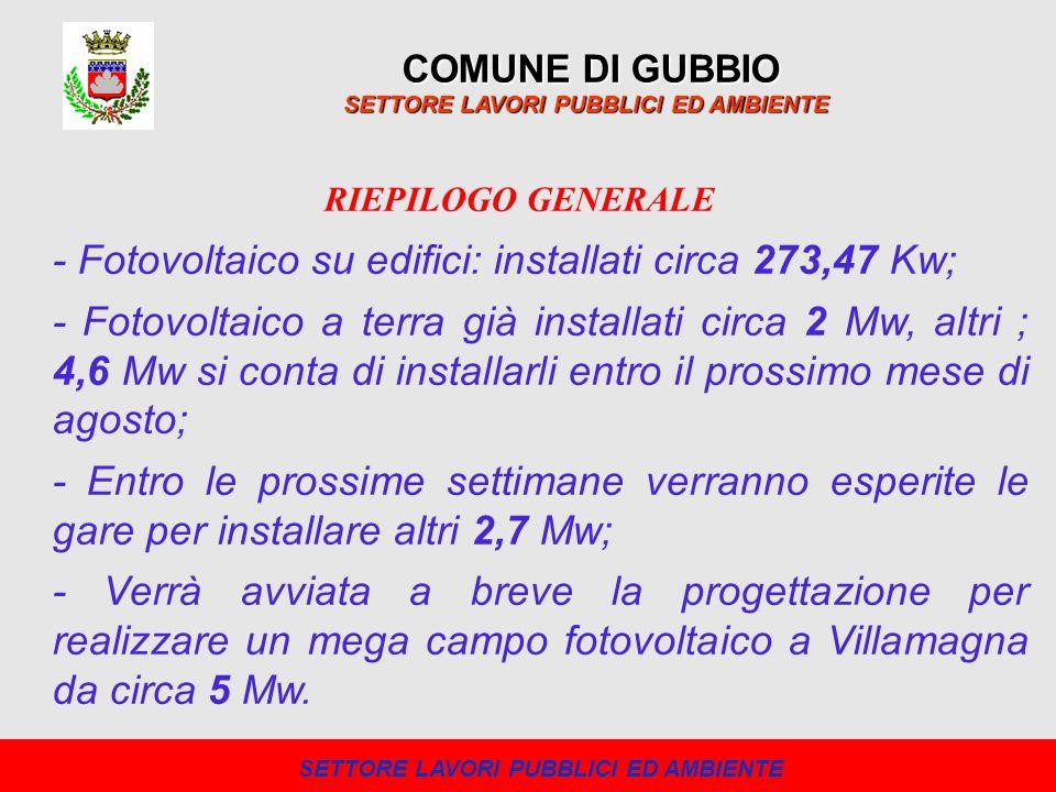 COMUNE DI GUBBIO SETTORE LAVORI PUBBLICI ED AMBIENTE - Fotovoltaico su edifici: installati circa 273,47 Kw; - Fotovoltaico a terra già installati circ