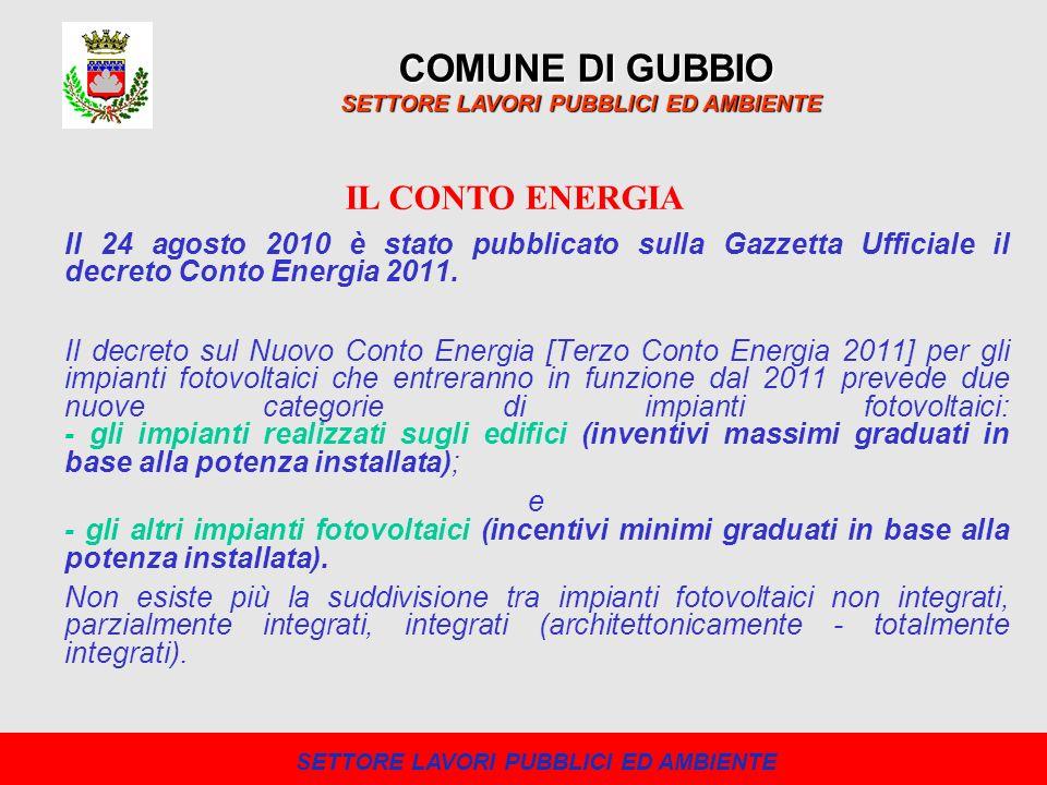 COMUNE DI GUBBIO SETTORE LAVORI PUBBLICI ED AMBIENTE Negli ultimi anni, il Comune di Gubbio ha realizzato diversi impianti fotovoltaici sulle coperture di strutture pubbliche.
