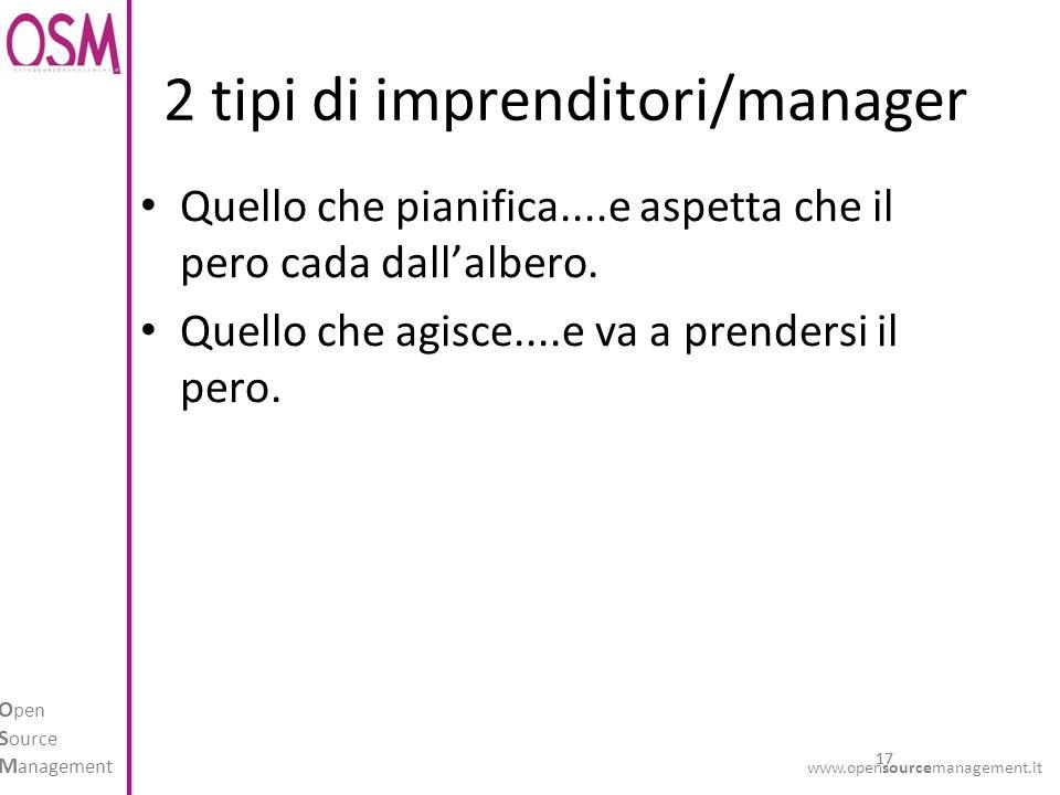 17 O pen S ource M anagement www.opensourcemanagement.it 2 tipi di imprenditori/manager Quello che pianifica....e aspetta che il pero cada dallalbero.