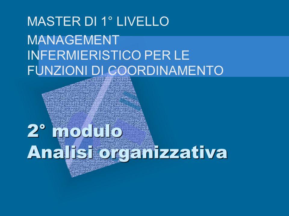 2° modulo Analisi organizzativa MASTER DI 1° LIVELLO MANAGEMENT INFERMIERISTICO PER LE FUNZIONI DI COORDINAMENTO