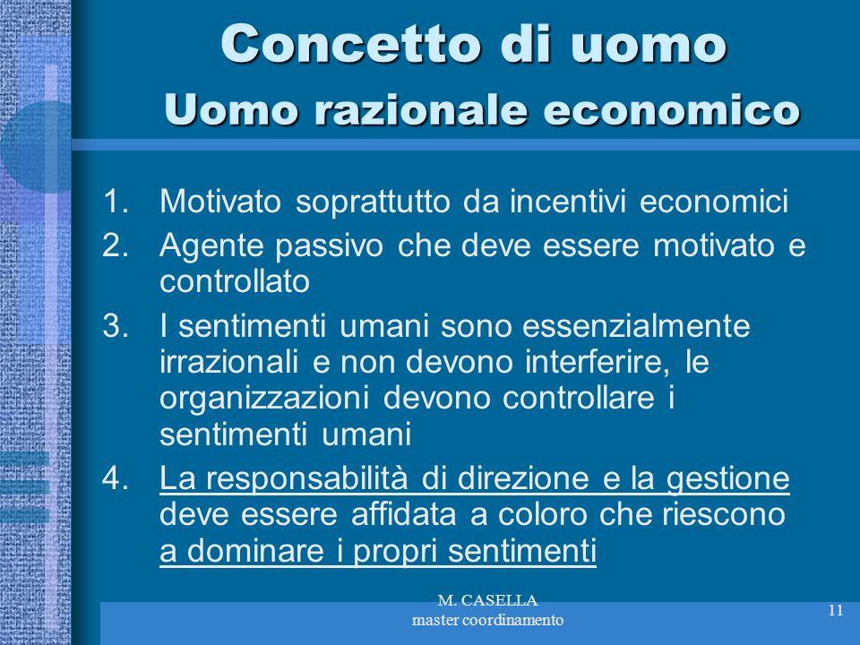 M. CASELLA master coordinamento 11 Concetto di uomo Uomo razionale economico 1.Motivato soprattutto da incentivi economici 2.Agente passivo che deve e