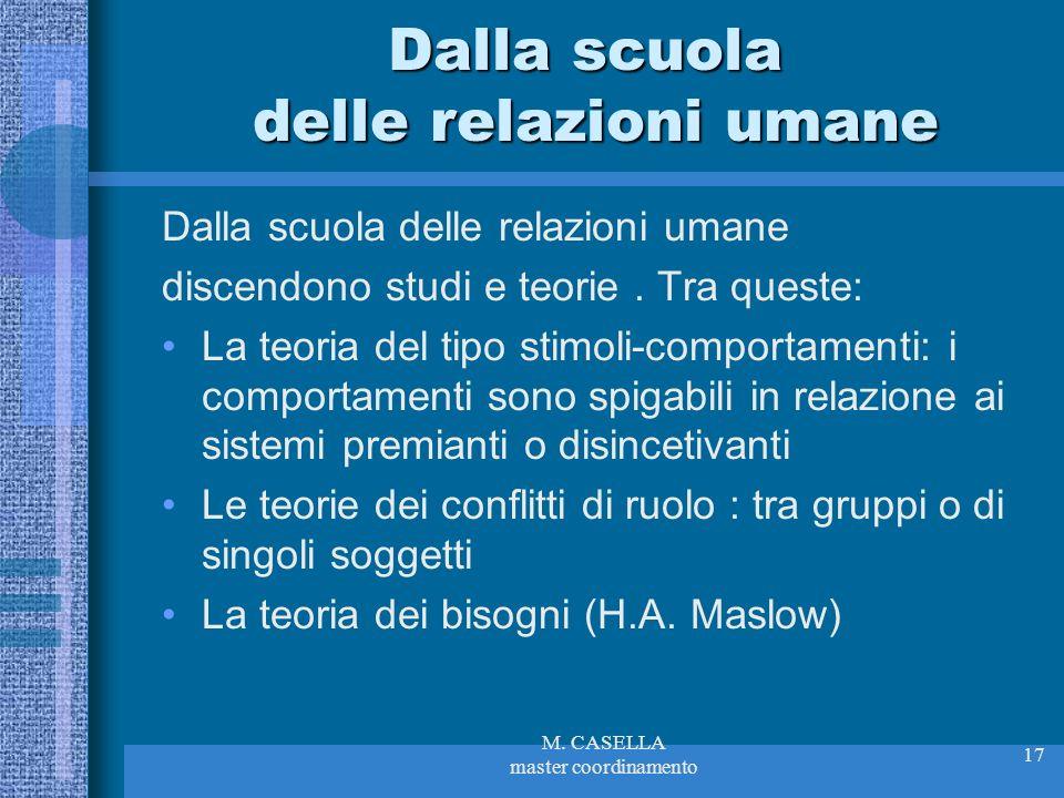 M. CASELLA master coordinamento 17 Dalla scuola delle relazioni umane discendono studi e teorie. Tra queste: La teoria del tipo stimoli-comportamenti: