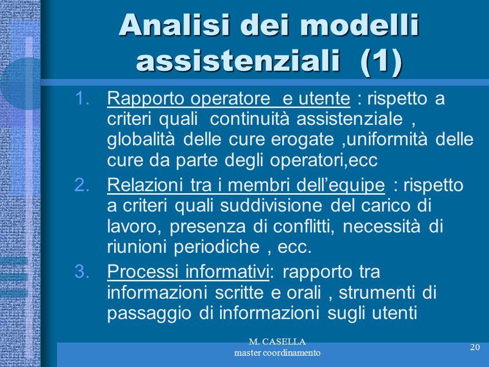 M. CASELLA master coordinamento 20 Analisi dei modelli assistenziali (1) 1.Rapporto operatore e utente : rispetto a criteri quali continuità assistenz