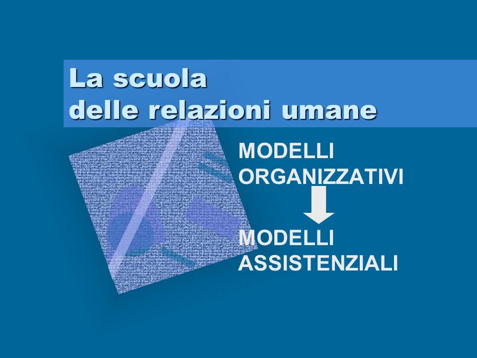 MODELLI ORGANIZZATIVI MODELLI ASSISTENZIALI La scuola delle relazioni umane