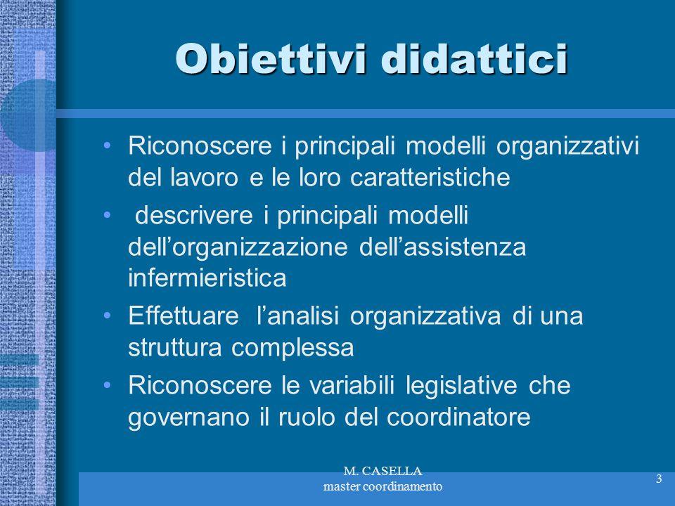 M. CASELLA master coordinamento 3 Obiettivi didattici Riconoscere i principali modelli organizzativi del lavoro e le loro caratteristiche descrivere i