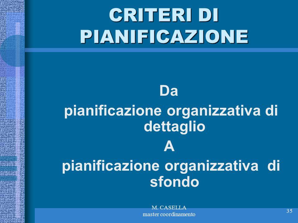 M. CASELLA master coordinamento 35 CRITERI DI PIANIFICAZIONE Da pianificazione organizzativa di dettaglio A pianificazione organizzativa di sfondo