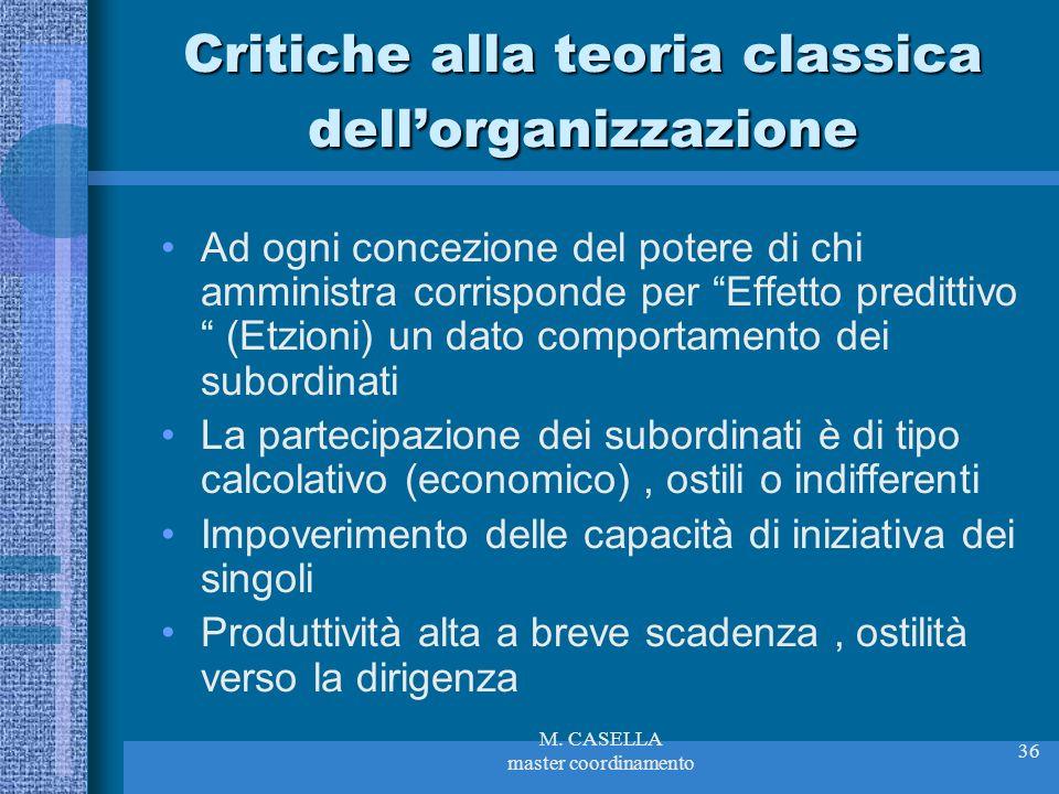M. CASELLA master coordinamento 36 Critiche alla teoria classica dellorganizzazione Ad ogni concezione del potere di chi amministra corrisponde per Ef