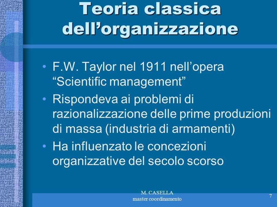 M. CASELLA master coordinamento 7 Teoria classica dellorganizzazione F.W. Taylor nel 1911 nellopera Scientific management Rispondeva ai problemi di ra