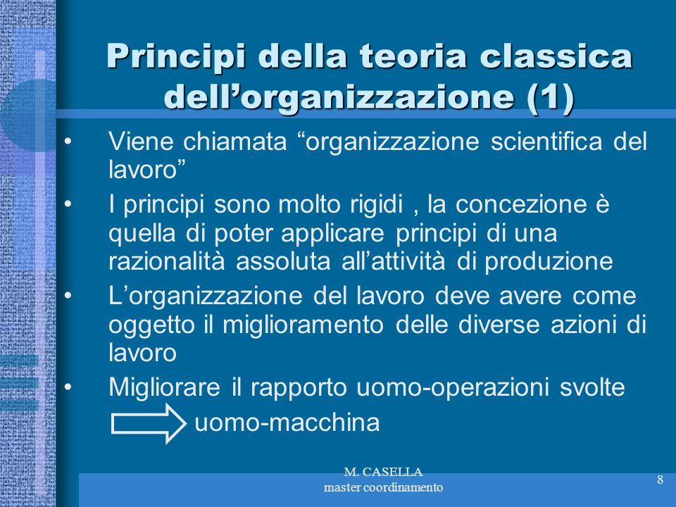 M. CASELLA master coordinamento 8 Principi della teoria classica dellorganizzazione (1) Viene chiamata organizzazione scientifica del lavoro I princip