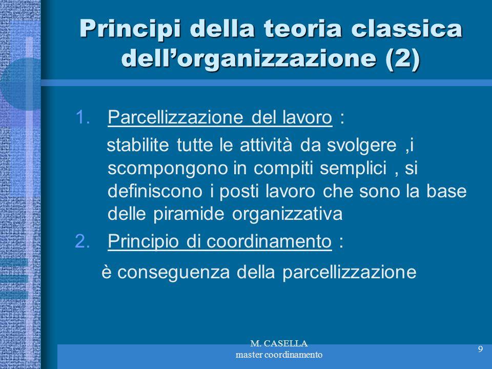 M. CASELLA master coordinamento 9 Principi della teoria classica dellorganizzazione (2) 1.Parcellizzazione del lavoro : stabilite tutte le attività da