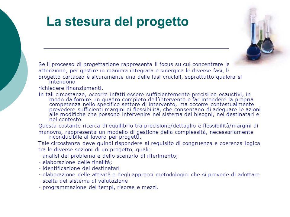 La stesura del progetto Se il processo di progettazione rappresenta il focus su cui concentrare la nostra attenzione, per gestire in maniera integrata