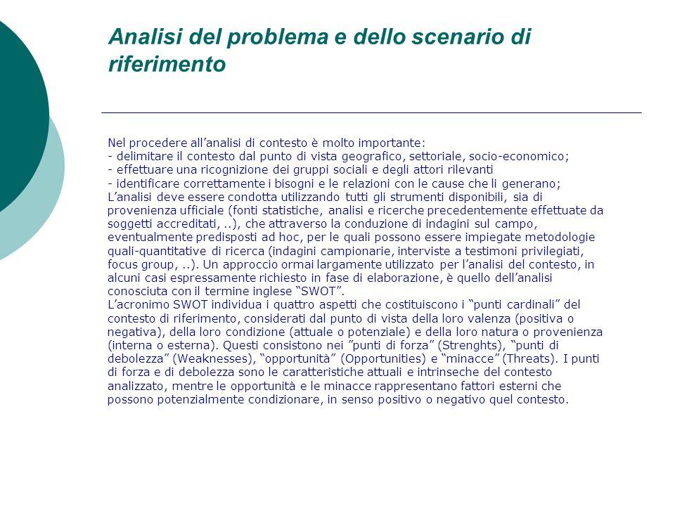 Analisi del problema e dello scenario di riferimento Nel procedere allanalisi di contesto è molto importante: - delimitare il contesto dal punto di vi