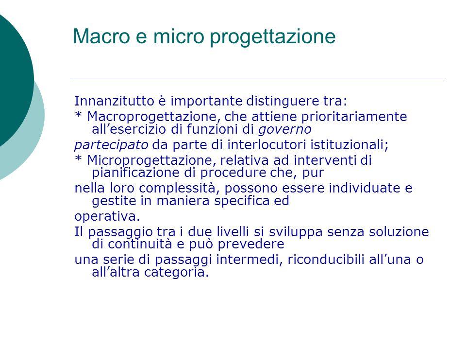 Macro e micro progettazione Innanzitutto è importante distinguere tra: * Macroprogettazione, che attiene prioritariamente allesercizio di funzioni di