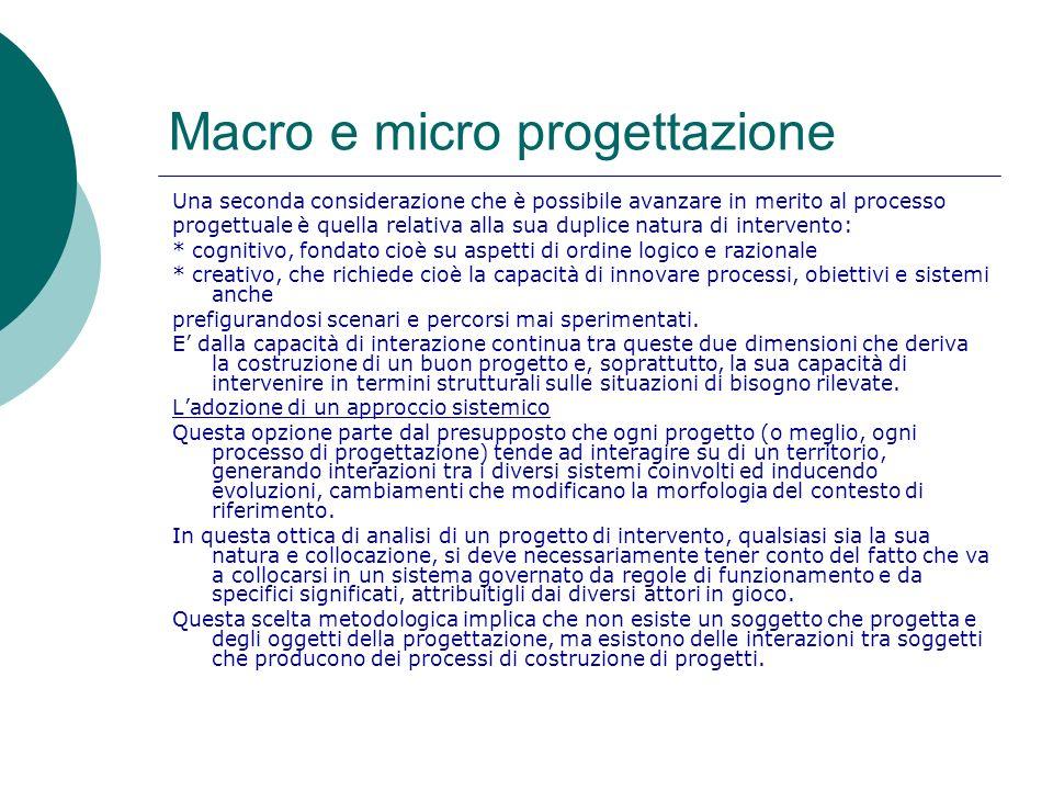 Macro e micro progettazione Una seconda considerazione che è possibile avanzare in merito al processo progettuale è quella relativa alla sua duplice n