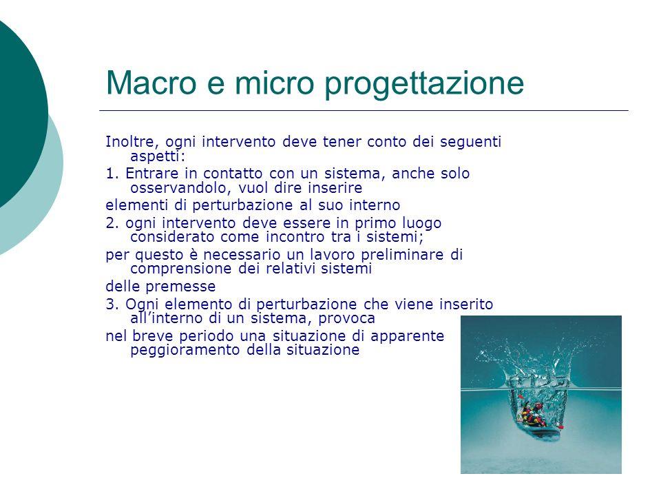 Macro e micro progettazione Inoltre, ogni intervento deve tener conto dei seguenti aspetti: 1. Entrare in contatto con un sistema, anche solo osservan