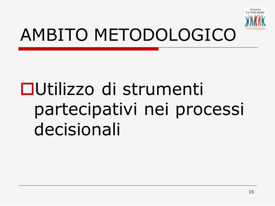 16 Utilizzo di strumenti partecipativi nei processi decisionali AMBITO METODOLOGICO