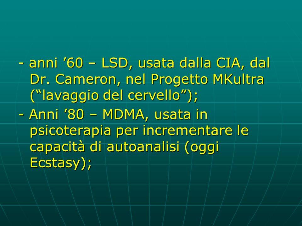 - anni 60 – LSD, usata dalla CIA, dal Dr.