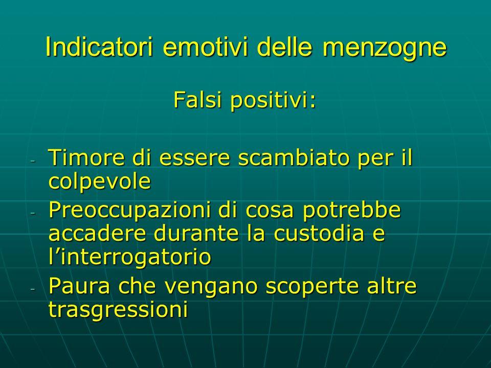 Indicatori emotivi delle menzogne Falsi positivi: - Timore di essere scambiato per il colpevole - Preoccupazioni di cosa potrebbe accadere durante la custodia e linterrogatorio - Paura che vengano scoperte altre trasgressioni