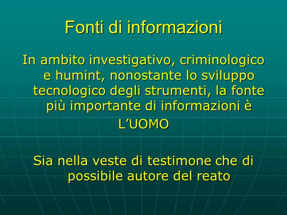 Fonti di informazioni In ambito investigativo, criminologico e humint, nonostante lo sviluppo tecnologico degli strumenti, la fonte più importante di informazioni è LUOMO Sia nella veste di testimone che di possibile autore del reato