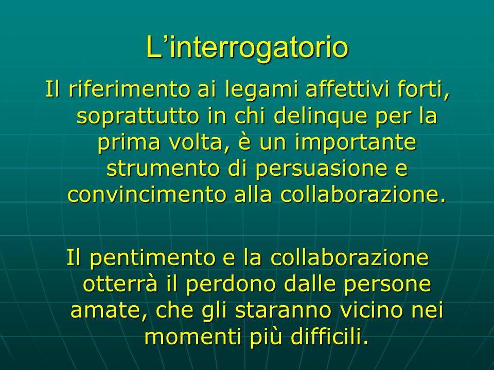 Linterrogatorio Il riferimento ai legami affettivi forti, soprattutto in chi delinque per la prima volta, è un importante strumento di persuasione e convincimento alla collaborazione.