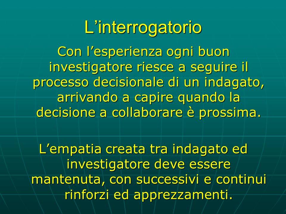 Linterrogatorio Con lesperienza ogni buon investigatore riesce a seguire il processo decisionale di un indagato, arrivando a capire quando la decisione a collaborare è prossima.
