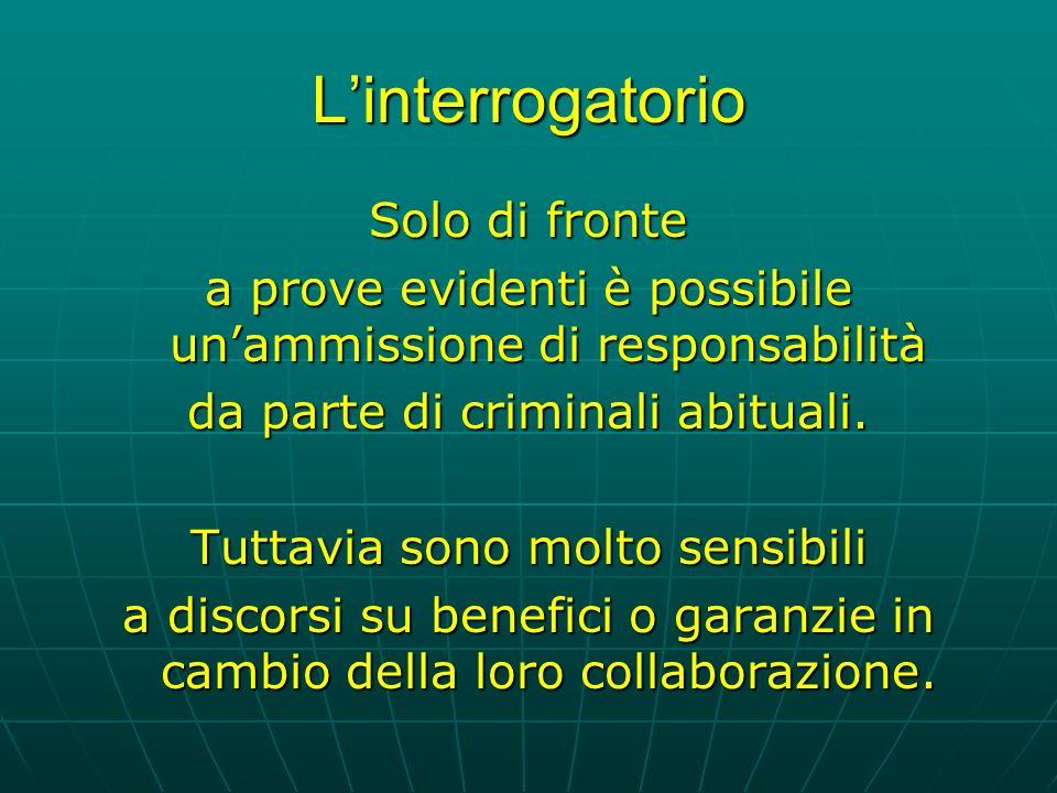 Linterrogatorio Solo di fronte a prove evidenti è possibile unammissione di responsabilità da parte di criminali abituali.