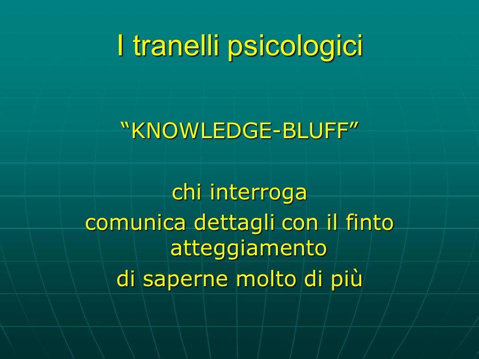 I tranelli psicologici KNOWLEDGE-BLUFF chi interroga comunica dettagli con il finto atteggiamento di saperne molto di più