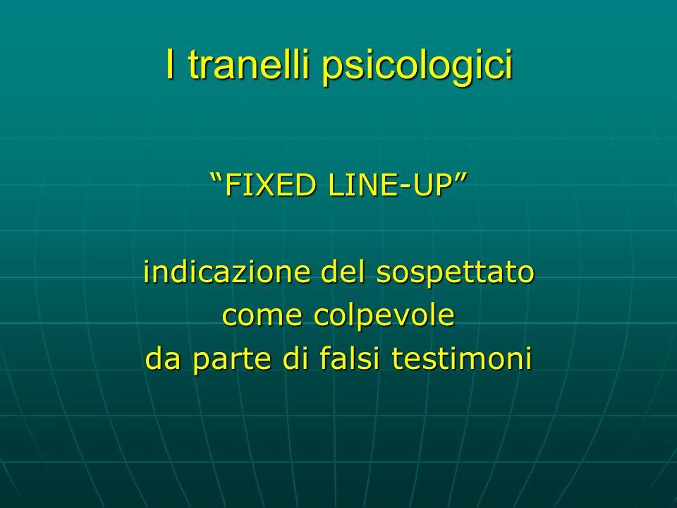 I tranelli psicologici FIXED LINE-UP indicazione del sospettato come colpevole da parte di falsi testimoni