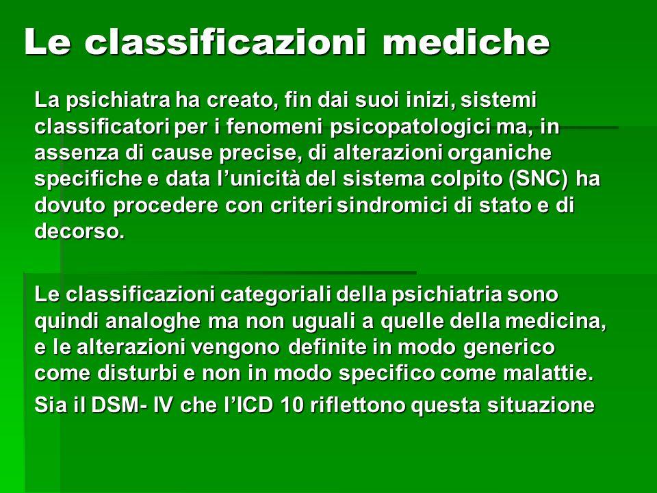 Le classificazioni mediche La psichiatra ha creato, fin dai suoi inizi, sistemi classificatori per i fenomeni psicopatologici ma, in assenza di cause