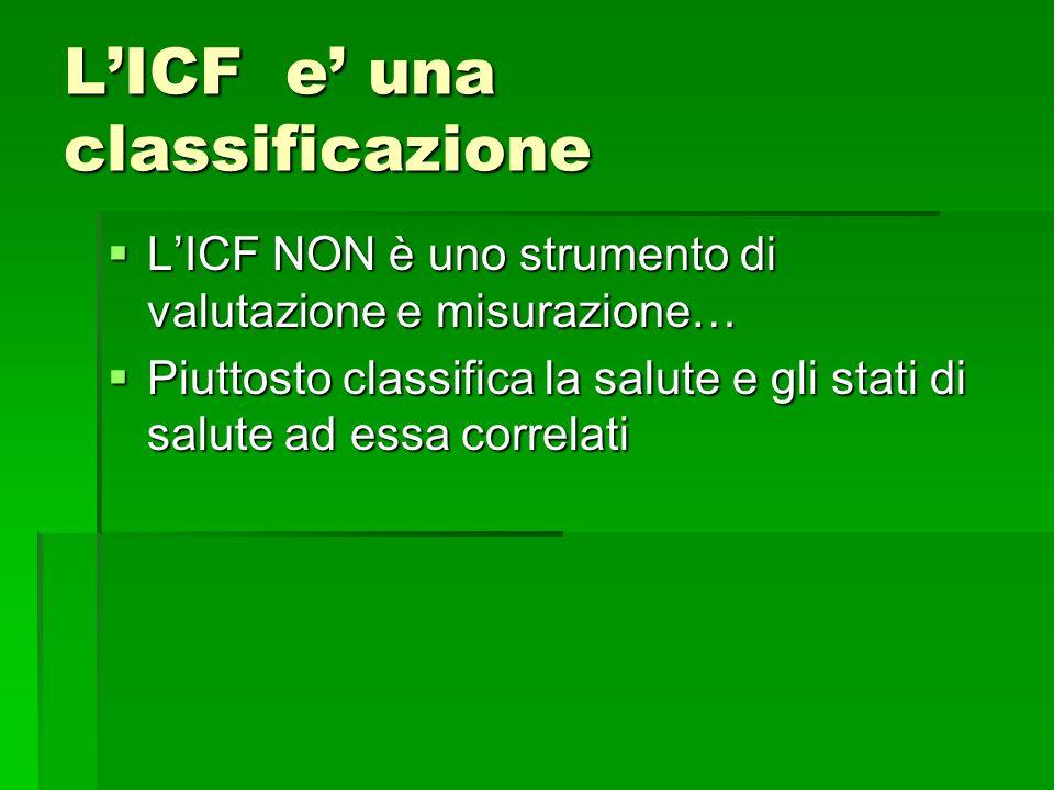 LICF e una classificazione LICF NON è uno strumento di valutazione e misurazione… LICF NON è uno strumento di valutazione e misurazione… Piuttosto cla