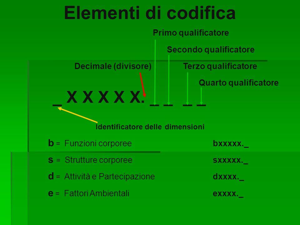 Elementi di codifica Primo qualificatore Secondo qualificatore Decimale (divisore) Terzo qualificatore Quarto qualificatore _ X X X X X. _ __ _ Identi