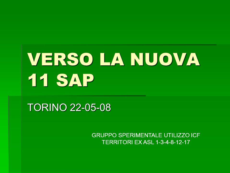 VERSO LA NUOVA 11 SAP TORINO 22-05-08 GRUPPO SPERIMENTALE UTILIZZO ICF TERRITORI EX ASL 1-3-4-8-12-17