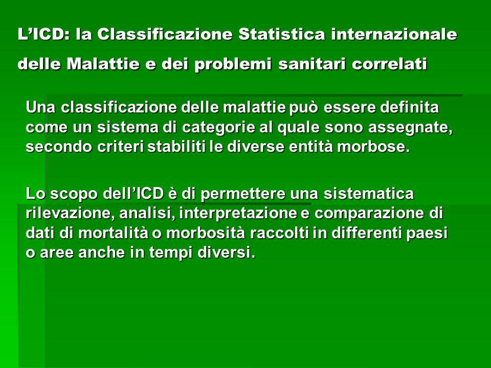 LICD: la Classificazione Statistica internazionale delle Malattie e dei problemi sanitari correlati Una classificazione delle malattie può essere defi