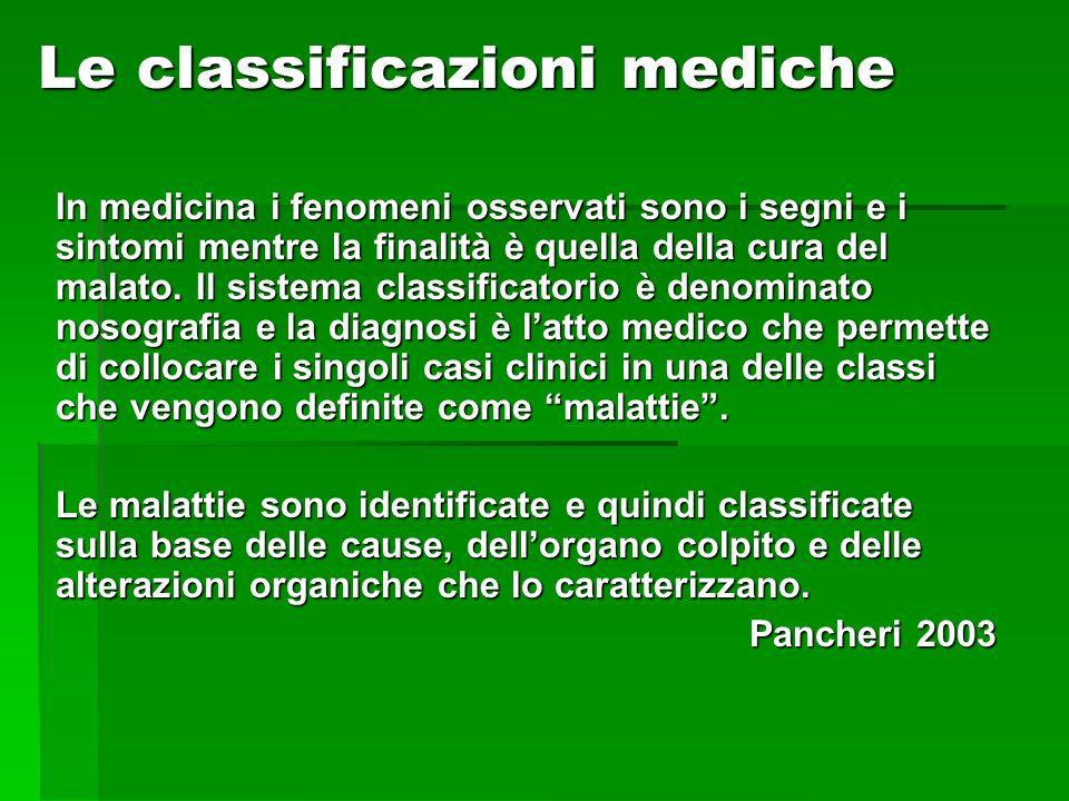 Le classificazioni mediche In medicina i fenomeni osservati sono i segni e i sintomi mentre la finalità è quella della cura del malato. Il sistema cla