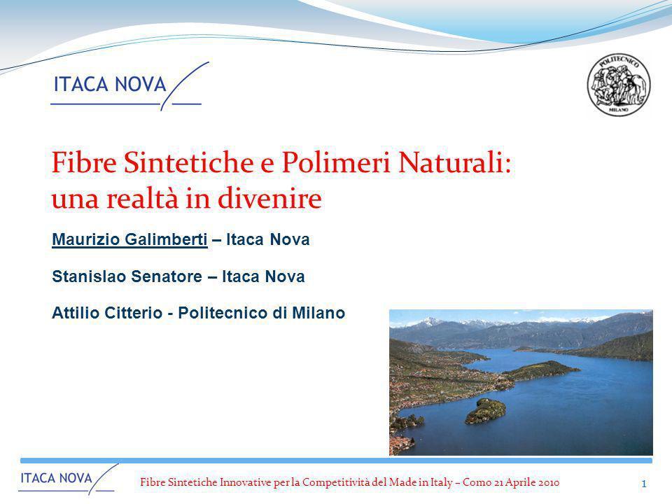 Fibre Sintetiche Innovative per la Competitività del Made in Italy – Como 21 Aprile 2010 1 Fibre Sintetiche e Polimeri Naturali: una realtà in divenir
