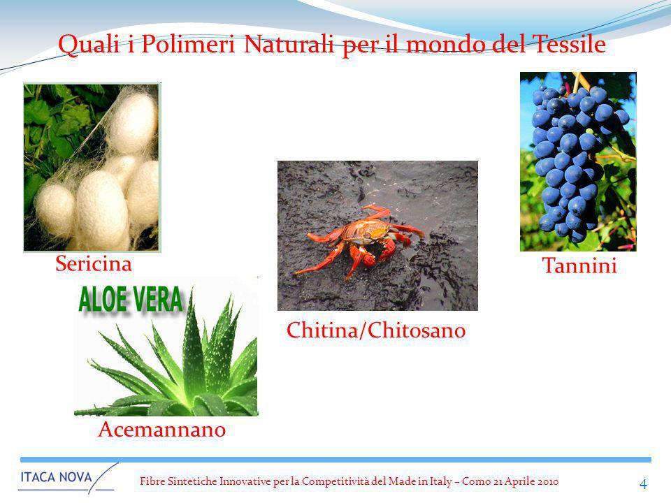 Fibre Sintetiche Innovative per la Competitività del Made in Italy – Como 21 Aprile 2010 4 Quali i Polimeri Naturali per il mondo del Tessile Sericina
