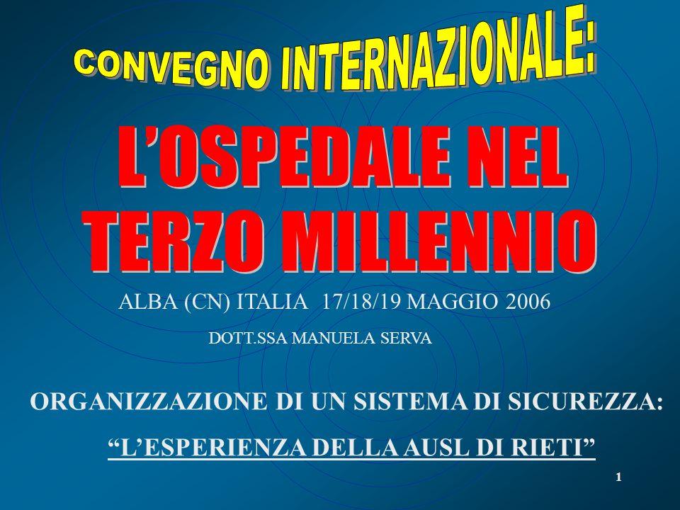 1 DOTT.SSA MANUELA SERVA ALBA (CN) ITALIA 17/18/19 MAGGIO 2006 ORGANIZZAZIONE DI UN SISTEMA DI SICUREZZA: LESPERIENZA DELLA AUSL DI RIETI