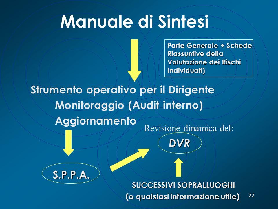 22 Manuale di Sintesi Strumento operativo per il Dirigente Monitoraggio (Audit interno) Aggiornamento S.P.P.A. S.P.P.A. DVR DVR SUCCESSIVI SOPRALLUOGH