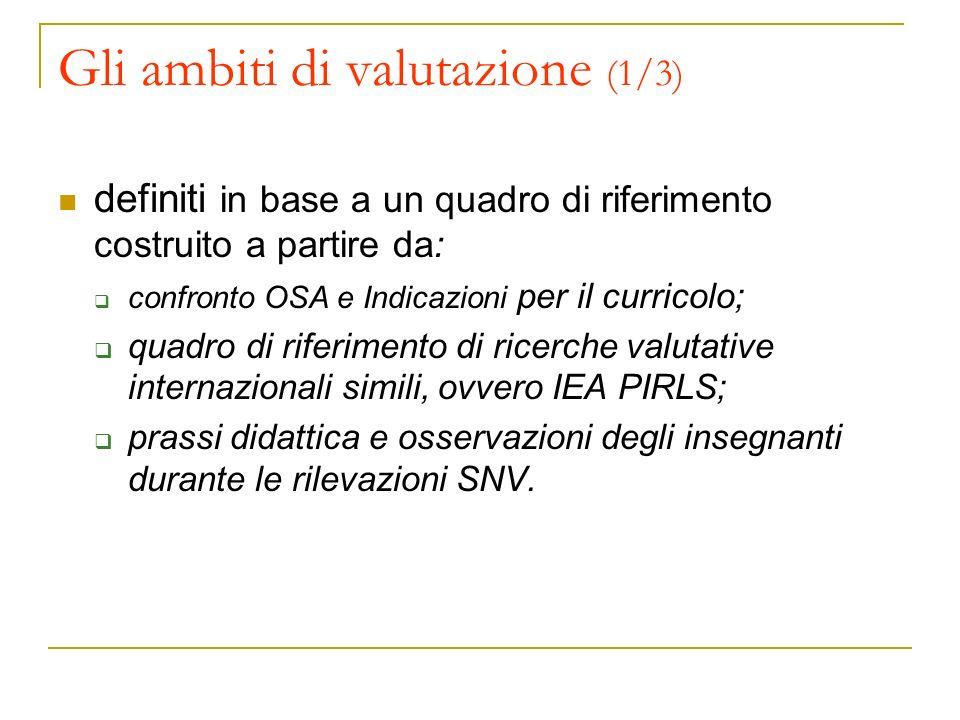 Gli ambiti di valutazione (1/3) definiti in base a un quadro di riferimento costruito a partire da: confronto OSA e Indicazioni per il curricolo; quad