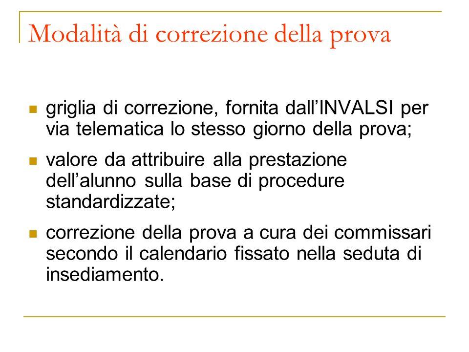 Modalità di correzione della prova griglia di correzione, fornita dallINVALSI per via telematica lo stesso giorno della prova; valore da attribuire al