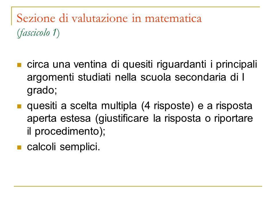 Sezione di valutazione in matematica (fascicolo 1) circa una ventina di quesiti riguardanti i principali argomenti studiati nella scuola secondaria di
